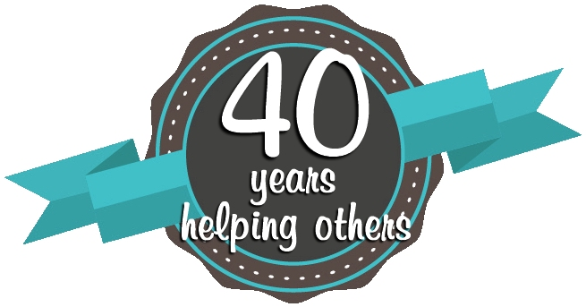 40 years helping others badge